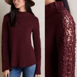 Knitted Knotted Burgundy Lace Sleeve Sweater